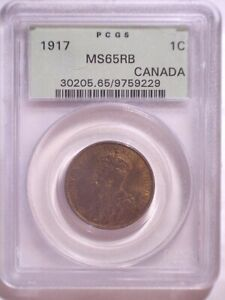 1917 PCGS MS65RB Canada Large Cent - Old Green Holder - Penny - 1C - KM#21