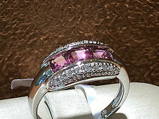 14K White Gold Diamond Cocktail Ring with Pink Topaz,size 7