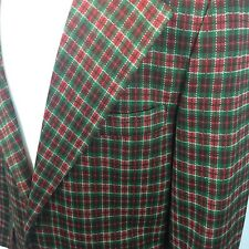 Vintage 38R Red Green White Plaid Hipster Christmas Blazer JCPenney Towncraft