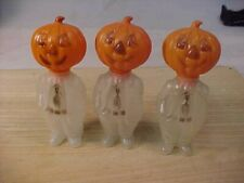 3 Vintage Plastic Candy Containers With Pumpkin Heads,E. Rosen Co Pawtucket R I