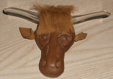 Vintage Elzac Bull Texas Longhorn Brooch pin Wooden carved face Lucite Horns 5""