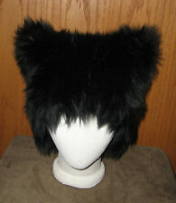 BLACK KITTY CAT FUR FURRY EARS HAT GOTH CYBER COSPLAY ANIME EDC WIG COSTUME