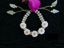 Beautiful Delicate Braided 5 Jadeite Jade Daisy Flower Beaded Bracelet Top Grade