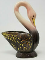 Norwood American Art Pottery Swan Planter Pink Gold Brown Vintage Reflective