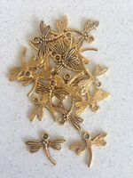Antique Gold Dragonfly Charms / Pendants x 20