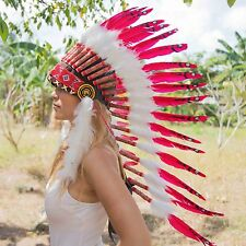INDIAN HEADDRESS RED Chief War bonnet Costume Native American Halloween Feathers