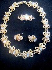 SWAROVSKI Swan Signed Goldtone Crystal Matched Necklace,Brooch & Earrings  728