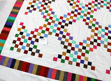 Triple Irish Chain - Multi Color Queen size QUILT TOP - Great Borders