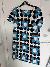 BODEN Sz 14 Heavy Cotton Shift Dress. White, blue & black