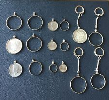 COIN HOLDER BEZEL LOT SILVER DOLLAR FIFTY CENTS QUARTER DIME NICKEL TOTAL 16