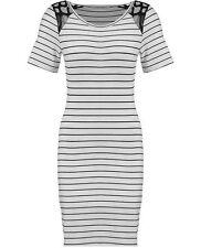 Knee-Length Stretch, Bodycon Viscose Striped Women's Dresses