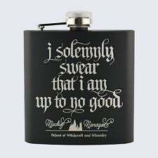 MISCHIEF MANAGED, Marauders Map Style, Harry Potter Inspired, 6oz Hip Flask