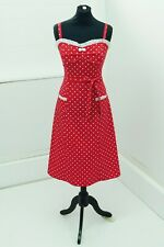 Stop Staring exquisite 50s pinup Bettie Page style dress red/white L(14/16)