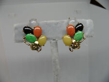 Beautiful Solid 14K Yellow Gold, Multi-Color Jade Floral Clip On Estate Earrings
