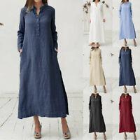Women Kaftan Cotton Long Sleeve Plain Casaul Oversize Maxi Shirt Dress Plus P