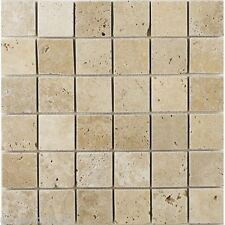 Tumbled Clic Light Travertine Mosaic Tiles 48 X X10 Mm