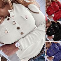 ZANZEA 8-24 Women Long Sleeve Shirt Tee Button Up Knit Top Henley Neck Blouse