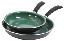 Nonstick Fry Pan Set 2 Piece Ceramic Green Eco-Friendly Kitchen Cooking Cookware