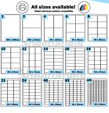 Coloured Self Adhesive Printer Labels, Red, Green, Blue or Yellow A4 Stickers