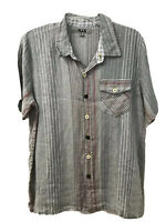 NWT FLAX Shirt Button Down Short Sleeve Linen Multi Blouse Top S Pocket