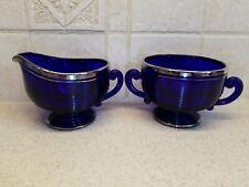 Cambridge Glass Tally Ho (#1402) Cobalt Cream and Sugar set Platinum Trimmed
