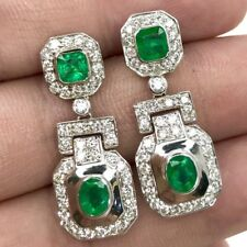 ART-DECO 18K SOLID WHITE GOLD 4.23CT Emerald Diamond earrings Natural Chandelier