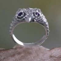 Elegant Owl 925 Silver Rings Women Jewelry Blue Sapphire Wedding Ring Size 6-10