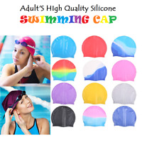 Adult Swimming Hat Silicone Elastic Flexible Durable Ladies Gents Swim Cap UK