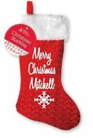 Personalised Merry Christmas your name snowflake xmas stocking santa sack