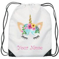 Personalised Unicorn Flower Gym Bag PE Dance Sports School Swim Bag Waterproof
