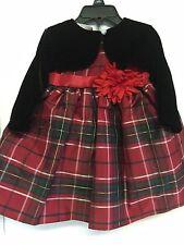 Blueberi Boulevard Girls Holiday Red Plaid Dress Black Velour Jacket 12 Months