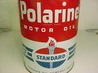 NEAR MINT * 1940s era STANDARD POLARINE MOTOR OIL Old Solder Seam Tin 5 qt. Can