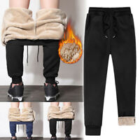 Men Athletic Pants Fleece Lined Thick Trousers Casual Loose Winter Warm Pants