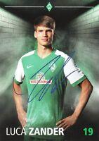 Luca Zander (19) + Werder Bremen + Saison 2015/2016 + Autogrammkarte +