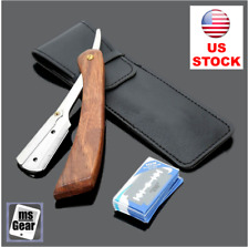 Rosewood Handle Straight Edge Barber Razor Folding Shaving Knife Men + 10 Blades