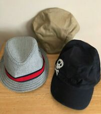 LOT OF (3) CHILDREN'S PLACE BOYS HATS SIZE M 10/14 BEIGE BLACK SKULL PINSTRIPED