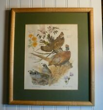 "Vtg Arthur Singer Framed Matted Print Game Birds and Flowers 16"" X 14"""