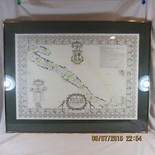 St Andrews Old Course Golf Print Map rare by Allan Peden black color ink framed