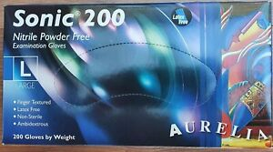 Sonic 200 Disposable Gloves Nitrile Powder Free Box of 200 size Large 100 pairs