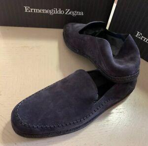 New $525 Ermenegildo Zegna Suede Espadrille/Sandal Shoes Navy 11 US Italy