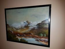 Vintage Oil Painting On Board 'Scottish Highlands' Signed By W. Haining -1958