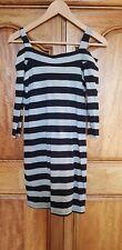 Grey And Black Stripe Body Con Dress Off Shoulder Size 6-8