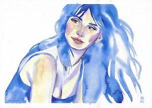 original painting A4 117FD art samovar Watercolor female portrait modern Signed