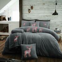 Luxury Teddy Fleece Embroidered Stag Duvet Cover Bedding Set