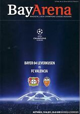 Programm vom CL  Spiel Bayer 04 Leverkusen : FC Valencia 2011/12