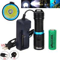 10000Lm XM-L T6 LED 26650/18650 Scuba Diving 100M Flashlight Fishing Torch Lamp