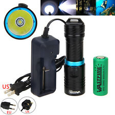 10000lm Xm-l T6 LED Scuba Diving Flashlight Torch 26650 Charger Waterproof 120m