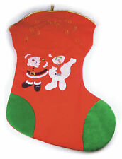 Santa & Snowman Christmas Stocking Extra Large XL Gift Bag Festive Present Sock