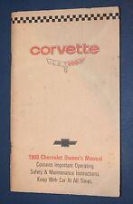 1980 Corvette original owners manual with cutout card