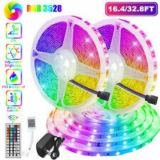 10M 32FT 3528 SMD RGB 600LEDs LED Light Strip 12V Power +44Key IR Remote Control
